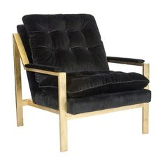 Worlds Away Cameron Gold Leafed Chair with Black Velvet Upholstery - CURRENTLY ON BACKORDER - CALL FOR AVAILABILITY