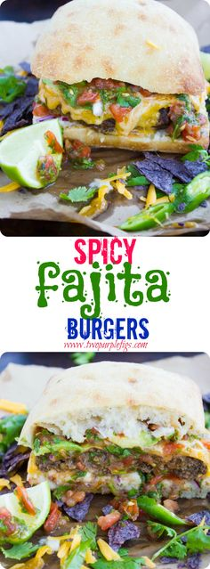 Spicy Fajita Burgers. Super flavored patties loaded with salsa and avocados with step by step to make this ABSOLUTE best fajita burger you can imagine! One time is all you need to get hooked! www.twopurplefigs.com