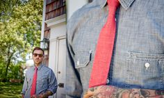 Chambray + Red Tie