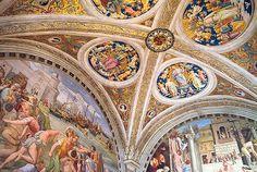 © 2006 Pedro M. Mielgo. Roma. Museos vaticanos. Stanza del Incendio del Borgo. Rafael  1513-21. La bóveda fue encargada por Julio II (pontífice desde 1503 hasta 1513) a Pietro Vannucci, llamado el Perugino, en 1508. Su programa iconográfico alude a la función que tenía la sala en la época de dicho papa, cuando se reunía en ella el más alto tribunal de la Santa Sede, la Segnatura Gratiae et Iustitiae, presidido por el pontífice. En efecto, en los cuatro tondos el Perugino ha representado a la…