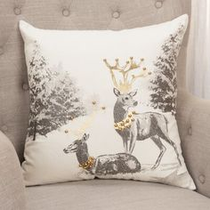 This Silver and Gold Reindeer Scene Pillow features a majestic scene that will make an elegant addition to any decor. Gingerbread Christmas Decor, Christmas Room, White Christmas, Christmas 2019, Silver Christmas Decorations, Christmas Themes, Christmas Cushions, Christmas Pillow, Silver Pillows