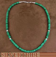 Native American Hand Strung Malachite and Silver Bead Necklace from SilverTribe.com