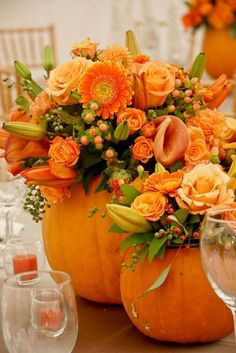 Pumpkin bouquet for centerpieces perfect for either a Halloween wedding or a Thanksgiving table! Dark or black flowers or filler could be added to either as well Thanksgiving Table Settings, Thanksgiving Decorations, Thanksgiving Ideas, Thanksgiving Flowers, Thanksgiving Tablescapes, Thanksgiving Wedding, Fall Table Settings, Hosting Thanksgiving, Fall Flowers