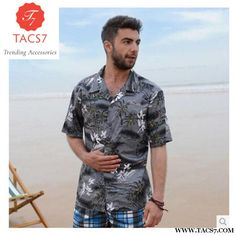 f72607052160 Casual Short Sleeves Beach Resort Cotton Shirt. Hawaiian Print ShirtsAloha  ShirtMens ...