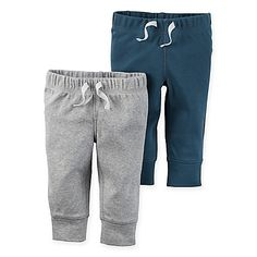 Your little one will be so cozy for all kinds of adventures in this Babysoft Cuffed Pant from carter's. Made of soft ribbed cotton with ribbed cuffs, it has a comfy covered elastic waist with a faux drawstring. It comes in a handy 2-pack.