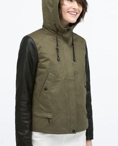 HOODED PARKA WITH LEATHER EFFECT SLEEVE-Jackets-Jackets-WOMAN | ZARA United States