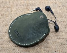 Headphone leather case /Mini Pouch Bag / by BlackBrierLeather