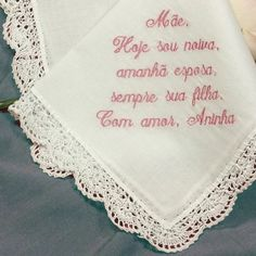 I can also custom embroider / personalize in other languages - just ask me. Personalized Wedding, Personalized Gifts, Wedding Handkerchief, Handkerchiefs, Bride Gifts, Languages, Mother Of The Bride, Spanish, Dream Wedding