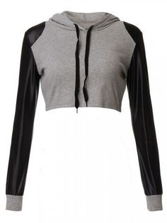 Sexy Women Hooded Drawstring Midriff Baring Patchwork Long Sleeve Hoodie