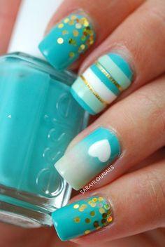 56 Ideas para que pintes tus uñas color celeste - light blue nails   Decoración de Uñas - Manicura y NailArt