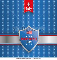 Independence day retro flyer with silver shield. Eps 10 vector file.