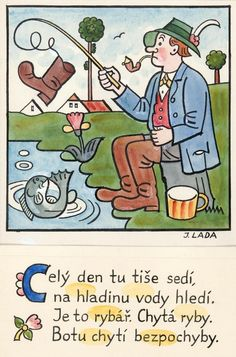 Kalamajka - Celý den tu tiše sedí ( Rybář), 1913 European Countries, Blue Bird, Illustrators, Folk Art, Comics, Retro, Reading, Artist, Books