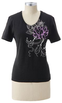Earth Creations ~ Made in USA ~ Lotus Flower on Better Than Before Scoop Neck Tee ~ #myecstyle  this would go with so much and dress up a notch casual living clothes.  Looks comfortable. made of Hemp and Cotton