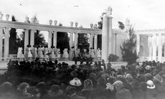 """Sunrise Easter Service at Owensmouth Greek Theater. Titled """"Angels, Roll the Rock Away."""" The performers were girls from Owensmouth High School. April 1, 1923. Canoga Park Woen's Club Collection. San Fernando Valley History Digital Library"""
