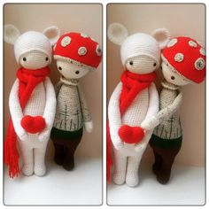 BINA the bear & PAUL the toadstool made by Katja K. / crochet pattern by lalylala