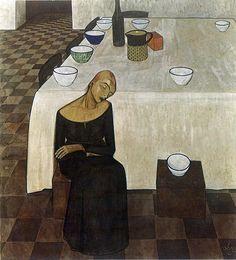 Felice Casorati (1883-1963, Italy) | l'Attesa, 1919