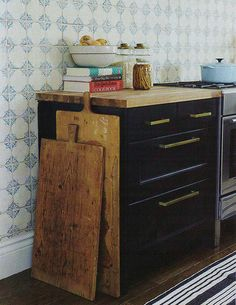 butcher block counters, dark shaker style cabinets, hardware