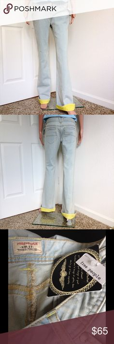 """NEW Free People Flare Jeans ✔️New with tags. Features yellow foldable hems. Inseam 31"""". See materials on last photo. ✔️ Reasonable offers or bundle 3 listings and get automatic 20% discount. ✔️Same day shipping  ✔️Freebie ❌No trades or outside PM transactions ✔️ Questions Happy shopping Free People Jeans Flare & Wide Leg"""