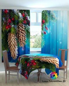"""Fotogardinen """"Weihnachten"""" Luxus Fotodruck 3D Höhe:1,60m. Breite:1,80 (2x90cm)."""