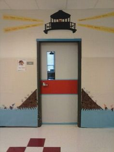 Turned my door into a lighthouse using washable glue stick and bulletin board paper. Class Decoration, School Decorations, School Themes, New Classroom, Classroom Themes, Nautical Bulletin Boards, Sailing Bulletin Board, Sailing Theme, Religion Catolica