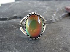 Mood Ring with Crown Bezel Locking Adjustable by theknottedgem, $20.00