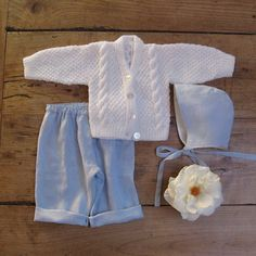3pc Linen Newborn Boy Set Home from the Hospital by JackieSpicer