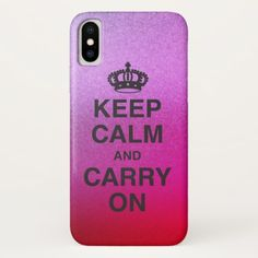 KEEP CALM AND CARRY ON / gold glitter iPhone X Case - glitter glamour brilliance sparkle design idea diy elegant