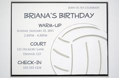 Items similar to Volleyball - Invitation on Etsy Teen Girl Birthday, Birthday Cakes For Teens, 13th Birthday Parties, Birthday Party Themes, Birthday Ideas, Volleyball Birthday Party, Volleyball Cakes, Volleyball Ideas, Trunk Party