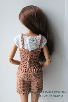 crocheted barbie doll clothes PDF pattern of crochet outfit for Barbie type dolls. The outfit is decorated with small buttons and it fastens to 2 metal fasteners on the dol Barbie Knitting Patterns, Knitting Dolls Clothes, Barbie Clothes Patterns, Crochet Barbie Clothes, Knitted Dolls, Crochet Dolls, Clothing Patterns, Barbie Fashionista Dolls, Barbie Dress