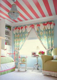 22 Ceiling Designs with Stripes to Bring Energy into Kids Room Decorating