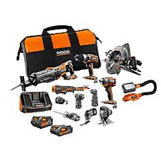 RIDGID Lithium-Ion Cordless Combo Kit with Battery and Battery, Charger and Bag - Products Lists of Tools and Hardware Cordless Power Tools, Cordless Drill, Porter Cable Tools, Power Tool Set, Ridgid Tools, Oscillating Tool, Mini Flashlights, Hammer Drill, Impact Driver