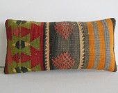 aztec pillow grey green orange Kilim Pillow Decorative Throw Pillow kilim cushion lumbar pillow kilim rug turkish cushion accent toss sham