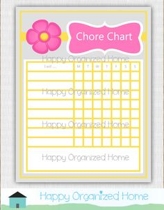 Pink and Yellow Flower Chore Chart For Kids  by HappyOrganizedHome, $5.00 Chore Chart Kids, Chore Charts, Charts For Kids, Off Sale, Yellow Flowers, Card Stock, Pink, Crafts, Printables