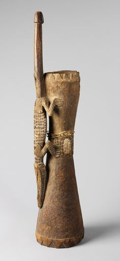 Water Drum, 19th–early 20th century Papua New Guinea, Middle Sepik region, Mindimbit village, Iatmul people Wood, fiber