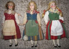 Martta nukke Folk Costume, Costumes, Old Dolls, Traditional Dresses, Old And New, Martini, Norway, Bears, Toys