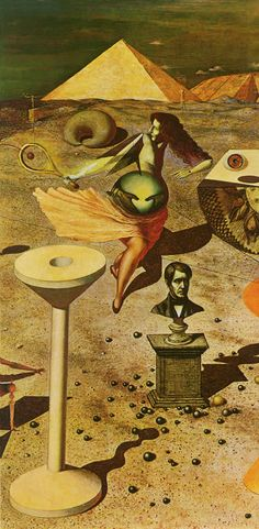 More from Rudolf Hausner who in this piece from a 1948 series makes me think of Max Ernst and Dalí.
