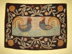 AMERICAN HOOKED RUG ROOSTERS FOLK ART by Pat Hornafius | eBay 595.00