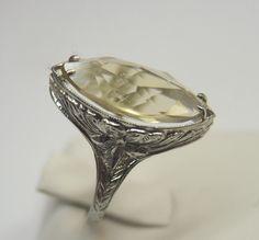 Antique Marquise Citrine Engagement Ring 18K Art Deco Wedding Vintage SZ-6.75  #Engagement