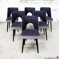 """Chaises vintage des années 60 noires """" pied de poule"""" - Mille m2"""