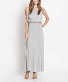 Love this Heather Gray Blouson Maxi Dress on #zulily! #zulilyfinds