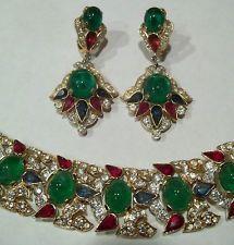 RARE Vintage Trifari Bracelet Earrings JEWELS OF INDIA RHINESTONE & GLASS Cab