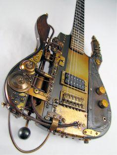 We've got air guitars, why not steam ones? :p Steampunk guitar: Tony Cochran Guitars  www.tonycochranguitars.tumblr.com #Steampunk