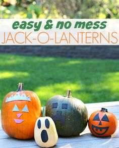 No mess pumpkin carving for kids. Okay so not exactly pumpkin carving but close, and safe for little kids!