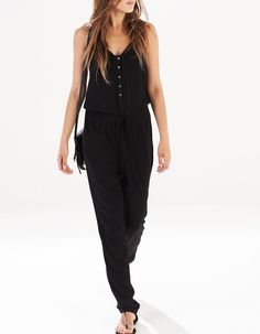 Full-length jumpsuit with straps