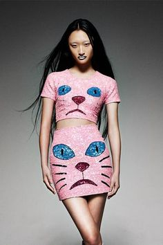 'PINK PUSSY' Sequinned Mini Skirt