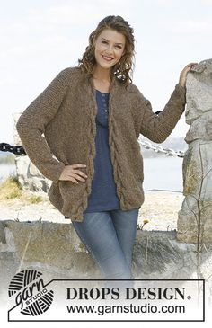 """Ravelry: """"Arizona"""" - Wide jacket with cable edge in Alpaca Bouclé pattern by DROPS design Free Pattern Designer Knitting Patterns, Knitting Designs, Knitting Patterns Free, Free Knitting, Free Pattern, Crochet Patterns, Drops Design, Knit Cardigan Pattern, Crochet Cardigan"""