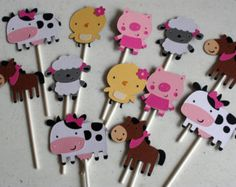 12 niña granja Animal etiquetas Favor granja decoración