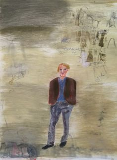 """Mark Mulhern, MAN WITH JACKET, Monotype, image 41 x 29 1/2"""" framed 46 x 36"""""""
