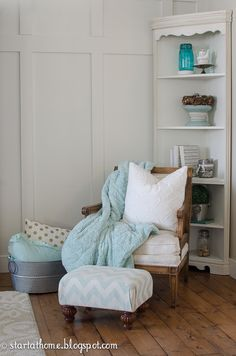 If you remember from last month I am part of the Shop Your House Challenge. For 4 months we will shop our houses to redo one room. Modern Cottage, Cottage Farmhouse, Farmhouse Decor, Teal Accents, Little Corner, Cozy Corner, Decorating Blogs, Family Room, Accent Chairs