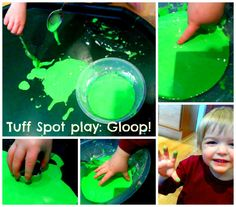 Tuff Spot play: Gloop! Cornflour, water and food colouring. A great sensory play material and good for older children to investigate solids and liquids